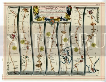 OGILBY Strip Map Alresford to Poole and Winchester; Shrewsbury to Chester, Flint, and Holywell
